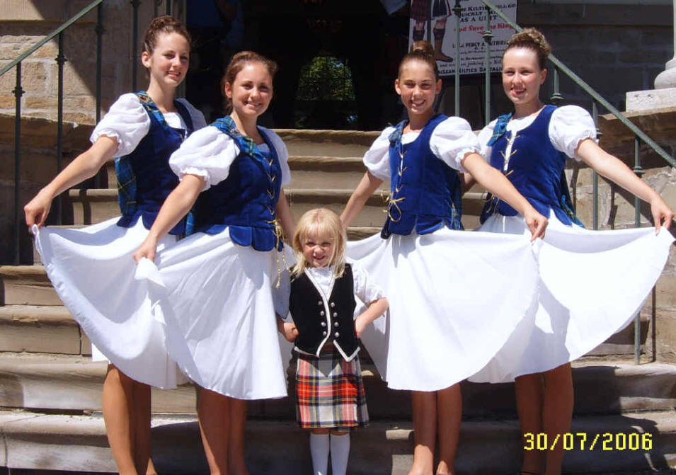 Lynsey, Heather, Fiona and Ashley with their young cousin Carys at Fredericton Highland Games, July 2006